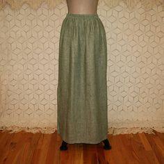 Long Linen Skirt Olive Green Skirt Large Maxi Skirt Hippie