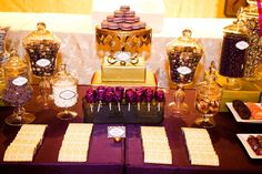 plum and gold wedding candy bar - Google Search