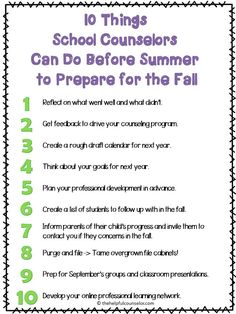 10 Things School Counselors Can Do Before Summer to Prepare for the Fall.I can adapt this for school psych School Counselor Office, High School Counseling, Elementary School Counselor, School Social Work, Counseling Office, School Counselor Organization, Group Counseling, Office Organization, Elementary Schools