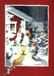 """Inge Löök, """"Tonttu hipsii pihalla+kissa ja hiiret"""" -joulukor - 2.5 € - Joulukortit - Postikortit - Keräily - Huuto.net - (avoin)"""