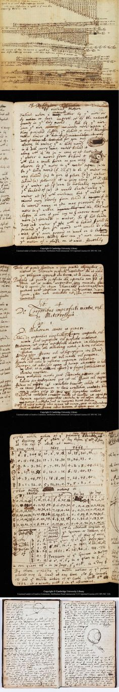 Newton's notebook pages.
