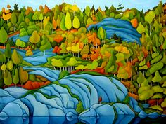 Deb Gibson Best Abstract Paintings, Easy Paintings, Beautiful Paintings, Canadian Painters, Canadian Artists, Landscape Art, Landscape Paintings, Landscapes, Naive Art