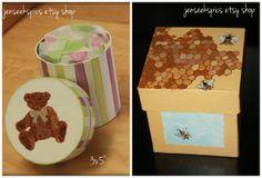 Whimsically Hand Painted Teddy #Bear or Honey #Bee Gift #Box