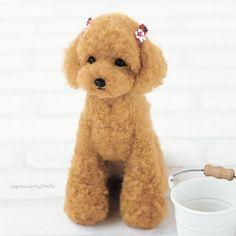 Japanese Needle Wool Felt DIY Kit, Hamanaka Felting Kit, Kawaii Brown Toy Poodle, Easy Felting Tutorial, Cute Animal Felting Doll, F140