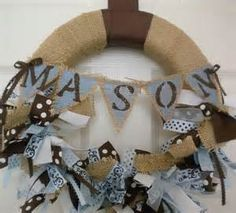 banner new baby wreath in chocolate browns and blues for your hospital ...
