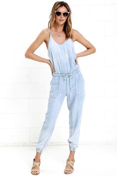 66aa1a9d0ce9 Blank NYC Bleached Chambray Jumpsuit