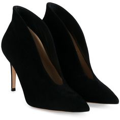 Gianvito Rossi Vamp Suede Ankle Stiletto Boots (€520) ❤ liked on Polyvore featuring shoes, boots, ankle booties, black stiletto booties, high heel booties, suede booties, high heel stilettos and black ankle booties
