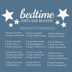 Here are a few diffuser blends to try out for a peaceful night. In the past, each child had his or her own bedtime blend because one blend works for one but not the other. I finally found one that works well for all 3 kids : Lavender, Serenity & Cedarwood for all 3 kids. The sweet dreams roller bottle combined with a bedtime diffuser blend help to calm the kids ultimately leading to a peaceful night. With diffuser blends and roller blends, after a couple of months of use they don't seem to…