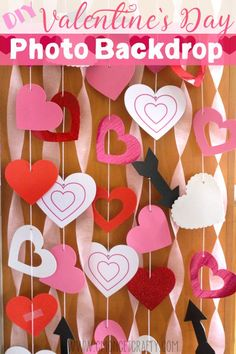DIY Valentine's Day Photo Backdrop from items from the dollar store.