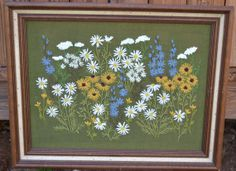 Retro Crewel Embroidery Flowers  Large Size Wooden by PanchosPorch, $45.00