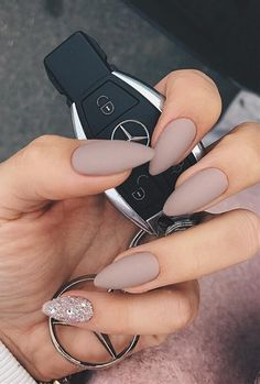 matte nude and glitter nails