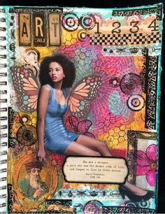 Magazine people mixed media art journal pages.
