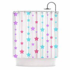 "Kess InHouse NL Designs ""Pastel Stars"" Pastel Pattern Shower Curtain"