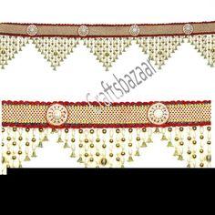 Pearl bandanwar#white n golden beads#red n white boarder