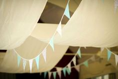 Bunting and DIY Ceiling hangings/Drapes:wedding Bunting1 - sewed together Ikea curtains for the draping!