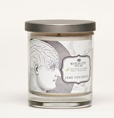 Lime Patchouli scented soy candle Phrenology by WitchCityWicks, $20.00