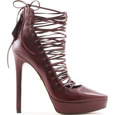 ♔ Tania Spinelli laced leather bootie.