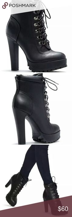 """SHOEDAZZLE MOTO BOOTS NWT Aziza black boot, faux leather, heel height 5"""", platform height 1.25"""", adjustable front laces. Height with comfort. Size 8.5 Shoe Dazzle Shoes Combat & Moto Boots"""