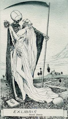 "Artworks by Alphonse Inoue (pseudonym of a Japanese artist, known for his erotic ex libris). I choose those that deal with the macabre motif ""Death and the Maiden"". Art Photography, Macabre Art, Skull Art, Ex Libris, Danse Macabre, Occult, Dance Of Death, Art, Dark Art"