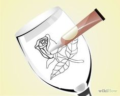 How to Do Glass Painting from a Pattern Tracing. Glass painting can be intimidating, but it does not have to be. If you use a pattern to trace from, it can be simple and fun. Wine Glass Crafts, Wine Craft, Wine Bottle Crafts, Wine Bottles, Broken Glass Art, Fused Glass Art, Stained Glass Art, Diy Wine Glasses, Hand Painted Wine Glasses