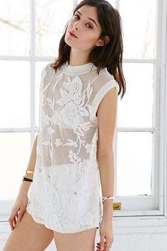 Kimchi Blue Lilly Embroidered Mesh Tunic Top - Urban Outfitters
