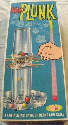 IDEAL: 1967 KerPlunk Game #Vintage #Games  I had this game and it very mysteriously disappeared once my parents figured out how much noise it made! hahaha
