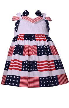 92bd693400 Bonnie Jean Girl s Patriotic Flag Shoulder Bow Dress Dress With Bow
