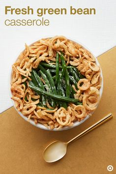 Creamy green beans are a Thanksgiving must-have, so this recipe has you covered. Simply spread green beans along the bottom of your baking dish, top with cream cheese, mozzarella and more of your favorite ingredients, and bake. Crispy fried onions totally make this dish dazzle. Fall veggies are at their finest in this fresh take on green bean casserole.