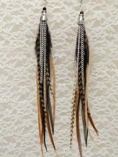 LONG Feather Chain Earrings SPICE Earthy by LoveJoyAdornments, $30.00