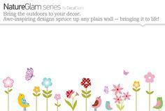 Childrens Wall Decal - Garden - Vinyl Art Sticker - Nursery or Kids Room - Spring Colors, Birds, Butterflies, Flowers - Pottery Barn