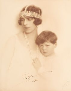 Queen Helena of Romania (then Pss) with little crownprince Mihai.