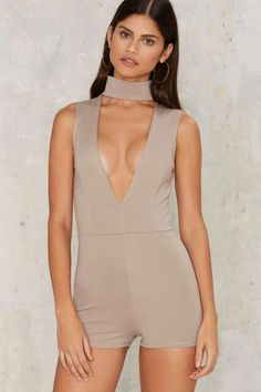 Sweet as Can V Mock Neck Romper - Gray | Shop Clothes at Nasty Gal!