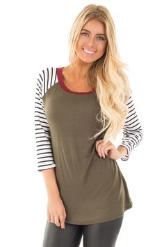 7ee504f272 Olive Solid Body Stripe Sleeve Top with Burgundy Detail front close up  Boutique Tops