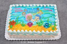 bubble guppies cake for Chloe's birthday Bubble Guppies Cupcakes, Bubble Guppies Birthday Cake, Bubble Birthday Parties, Bubble Guppies Party, Birthday Party Themes, Second Birthday Ideas, 2nd Birthday, Birthday Cakes, Pastel Rectangular
