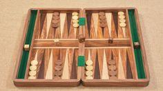 "Backgammon Set in Sheesham & Box wood with Board, Dice & Stones - 16"""