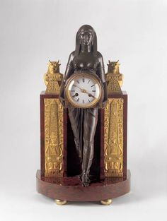 Clock c1807 designed by Thomas Hope and made in Paris of bronze, ormolu, marble and glass, courtesy David Roche Foundation Collection, Adelaide