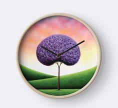 Purple Tree Wall Clock, Wood Framed Clock, Whimsical Tree Art Circle Clock, Colorful Office Decor, Modern Circular Hanging Pretty Clock by BingArt on Etsy