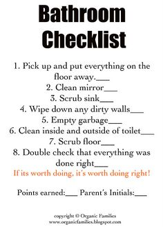 Free Kids Bathroom Cleaning Checklist Printable Cleaning