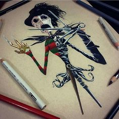 Jack Skellington/Edward Scissor Hands/Freddy Krueger mash-up drawing. By Wall-E. LOVE! http://illustratedmonthly.com/ @just_artwork