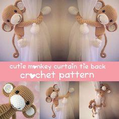 Monkey curtain tie back crochet pattern PDF by niceandcosee