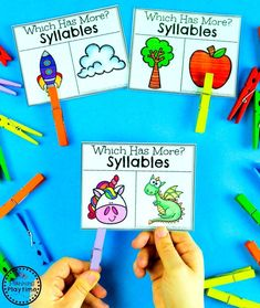 Count and Compare Syllables Activity #syllables #syllablesworksheets #kindergartenworksheets #planningplaytime