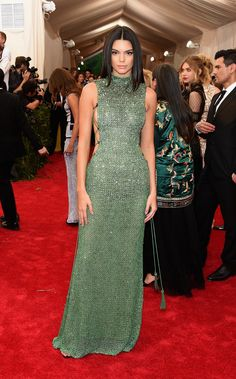 Kendall Jenner in a Calvin Klein Collection dress and Chopard jewelry at the 2015 Met Gala. See more on Vogue.com.