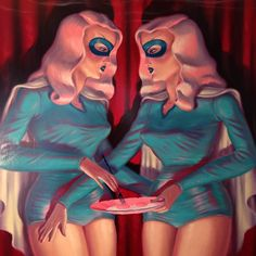 """One more detail from """"Our Founders"""". Thanks for the kind words everyone. More large format oil paintings coming up in 2016. #mysterytwins #oilpainting #eggs by ryanheshka"""