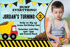 Construction Invitations for a kids birthday party. include your childs photo Birthday Cards For Boys, Baby Boy Birthday, Birthday Fun, Birthday Party Themes, Photo Invitations, Birthday Party Invitations, Invitation Design, Baby Shower Decorations For Boys, Boy Baby Shower Themes
