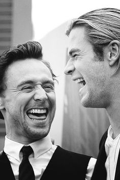 Tom Hiddleston & Chris Hemsworth ~ Tom Hiddleston should NEVER be in black & white. MUST see the color of his gorgeous eyes! lam 4/4/14