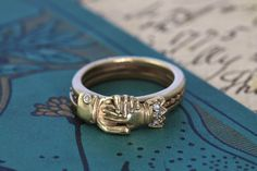 Fede Gimmel Ring, Engraved Lovers Motto, 14K Rose & Yellow Gold Diamonds, Hands Clasped Secret Heart, Posy Wedding Band, Engagement Ring by TheEdenCollective on Etsy https://www.etsy.com/listing/189871865/fede-gimmel-ring-engraved-lovers-motto