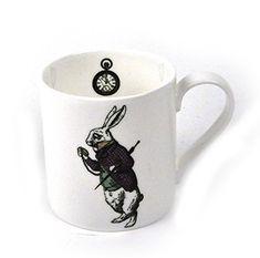 Alice In Wonderland Fine Porcelain White Rabbit Mug - 'Oh My Ears and Whiskers'