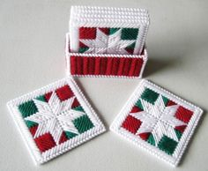 Coasters, Snowflakes Patchwork Coasters, Plastic Canvas Coasters, Christmas Coasters, Coasters Holder.