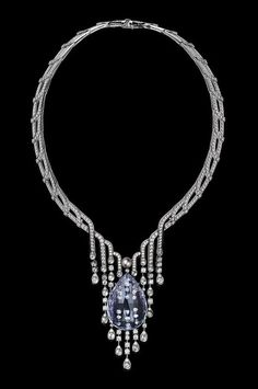 "Cartier ""Precious Lines and Architectures"" High Jewelry Necklace: Platinum, one briolette-cut purple tourmaline, one natural pearl, onyx, brilliants Cartier Necklace, Cartier Jewelry, Antique Jewelry, Vintage Jewelry, High Jewelry, Bling Jewelry, Jewelry Necklaces, Jewlery, Saphir Rose"