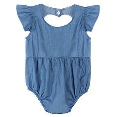 Cute Newborn Baby Girl Romper Clothes Infant Denim Rompers Back Heart Hollow Jumpsuit Sun suit Outfits